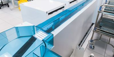 Photo of a clinical laboratory automation system track